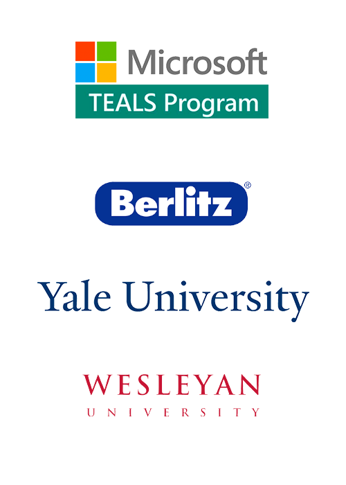 Berlitz * Microsoft TEALS * Yale University * EducationUSA * South College * Wesleyan University * University of South Florida * Virtual Home School Group * Acadomia
